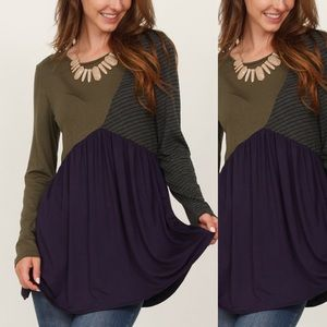 Olive & Navy Color Block Long-Sleeve Tunic